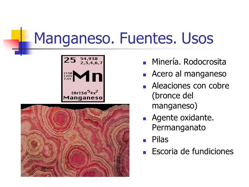 Manganeso. Fuentes. Usos