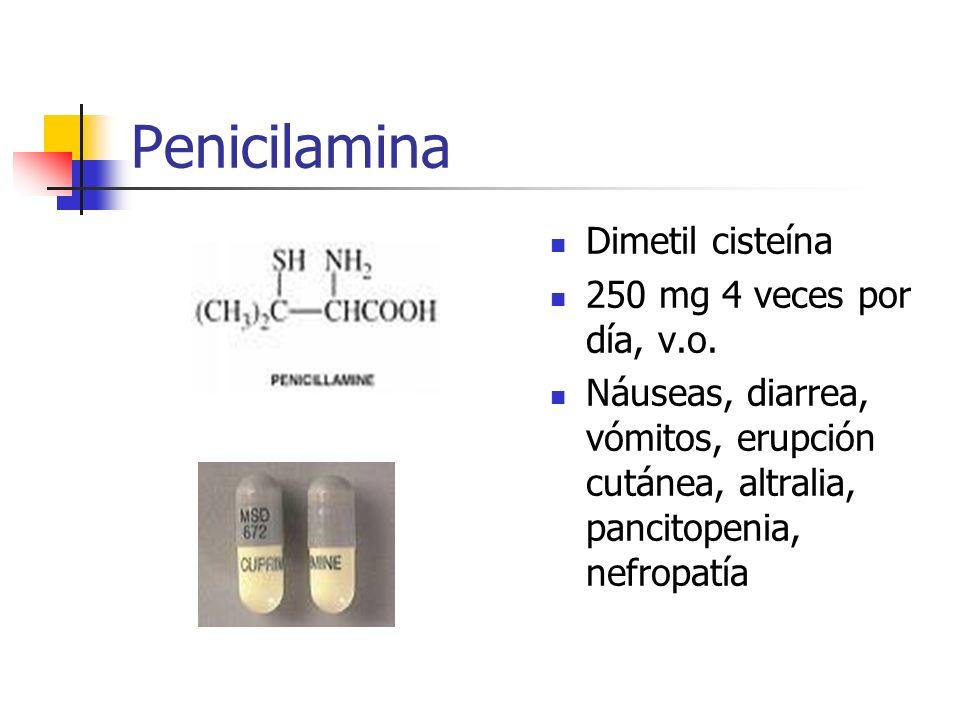 Penicilamina Dimetil cisteína 250 mg 4 veces por día, v.o.