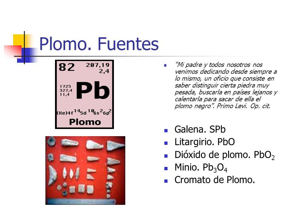 Plomo. Fuentes Galena. SPb Litargirio. PbO Dióxido de plomo. PbO2