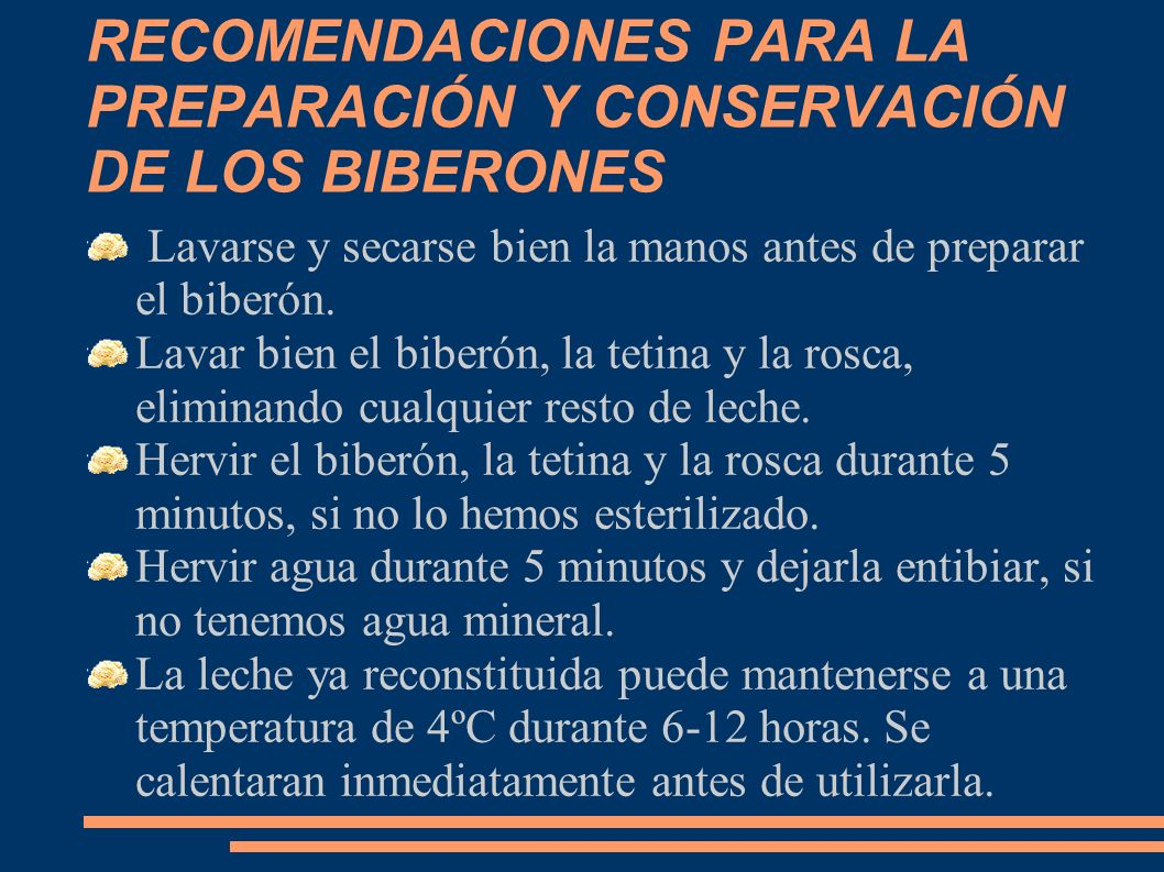 RECOMENDACIONES PARA LA PREPARACIÓN Y CONSERVACIÓN DE LOS BIBERONES