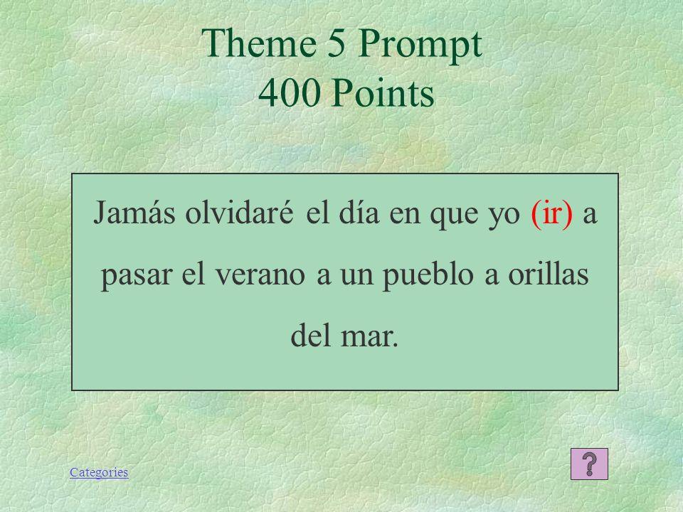 Theme 5 Prompt 400 Points Jamás olvidaré el día en que yo (ir) a pasar el verano a un pueblo a orillas del mar.
