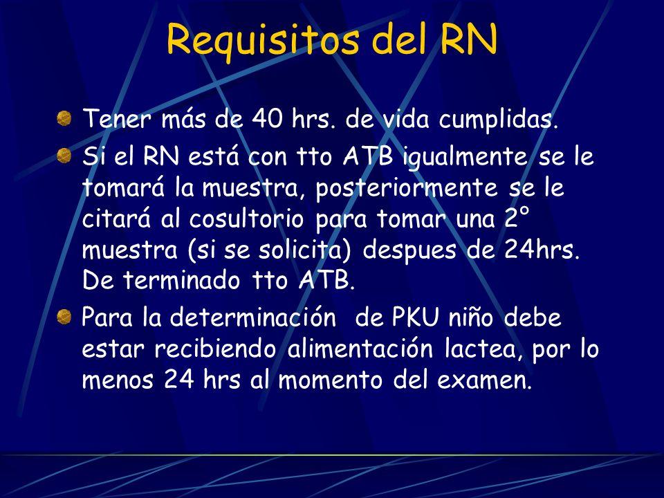 Requisitos del RN Tener más de 40 hrs. de vida cumplidas.