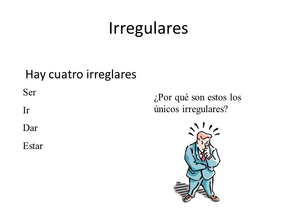 Irregulares Hay cuatro irreglares Ser Ir