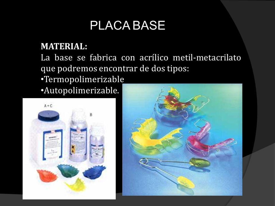 PLACA BASE MATERIAL: La base se fabrica con acrílico metil-metacrilato que podremos encontrar de dos tipos: