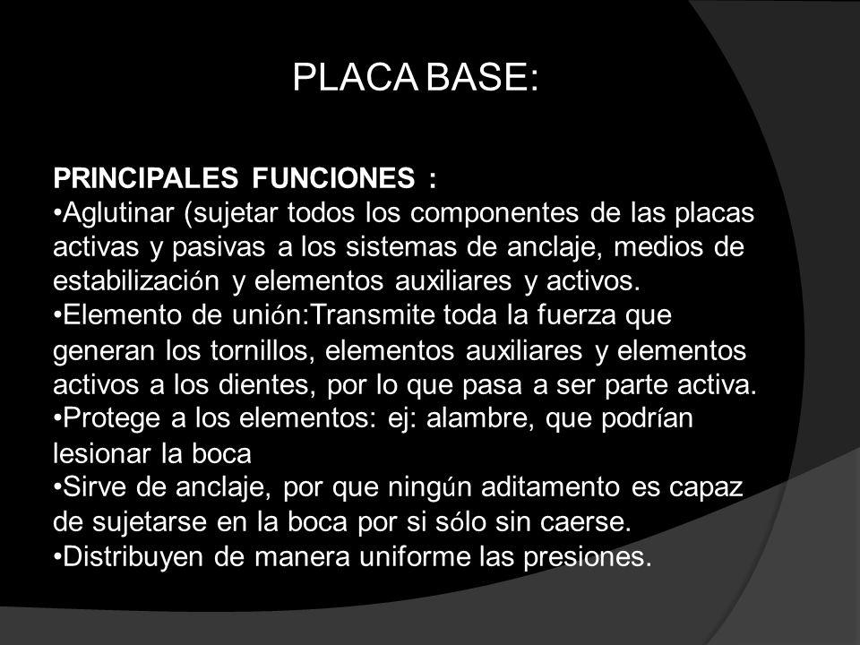 PLACA BASE: PRINCIPALES FUNCIONES :