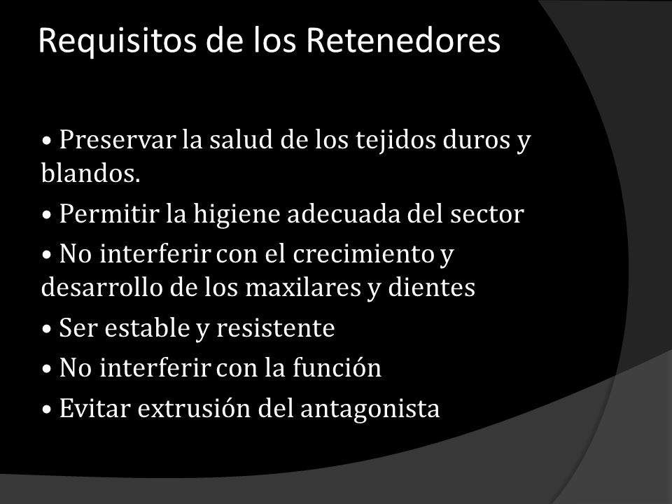 Requisitos de los Retenedores