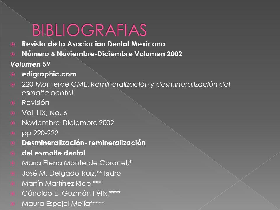 BIBLIOGRAFIAS Revista de la Asociación Dental Mexicana