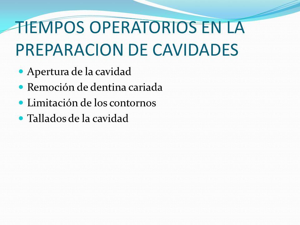 TIEMPOS OPERATORIOS EN LA PREPARACION DE CAVIDADES