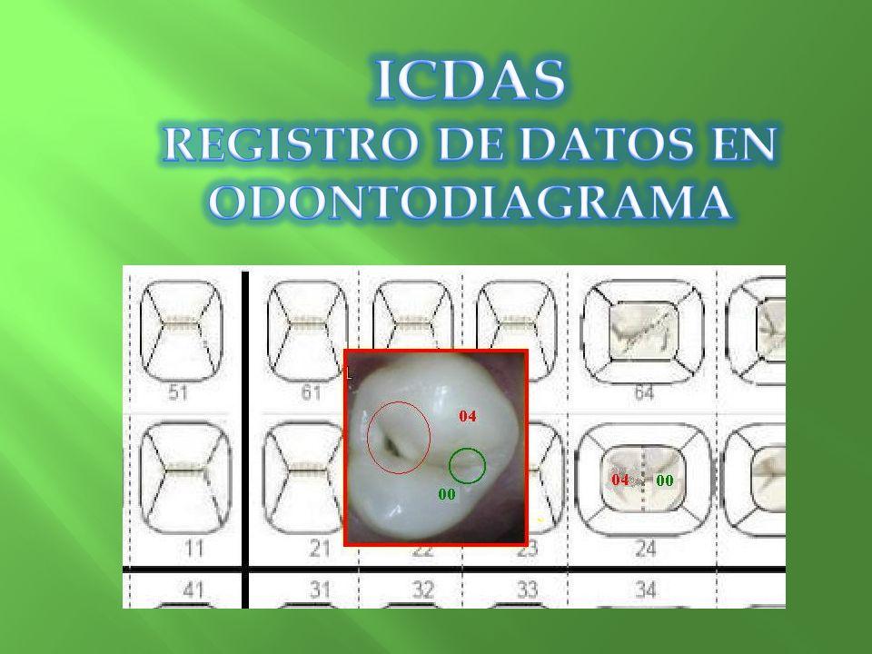 REGISTRO DE DATOS EN ODONTODIAGRAMA