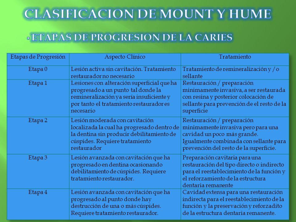 CLASIFICACION DE MOUNT Y HUME ETAPAS DE PROGRESION DE LA CARIES
