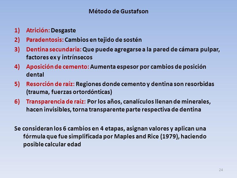 Método de Gustafson Atrición: Desgaste. Paradentosis: Cambios en tejido de sostén.