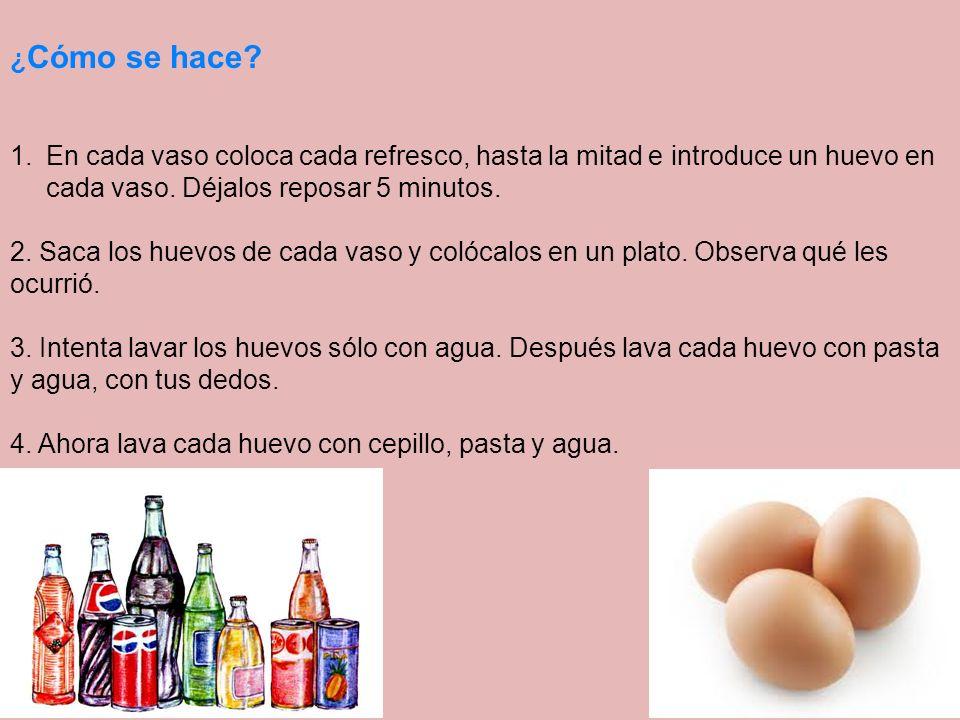 ¿Cómo se hace En cada vaso coloca cada refresco, hasta la mitad e introduce un huevo en cada vaso. Déjalos reposar 5 minutos.