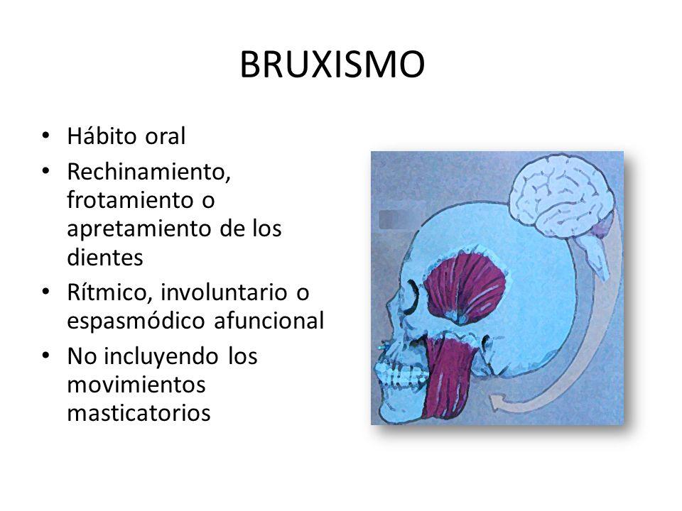 BRUXISMO Hábito oral. Rechinamiento, frotamiento o apretamiento de los dientes. Rítmico, involuntario o espasmódico afuncional.