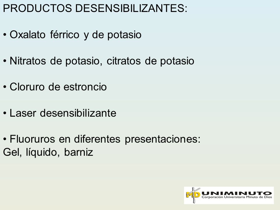PRODUCTOS DESENSIBILIZANTES: