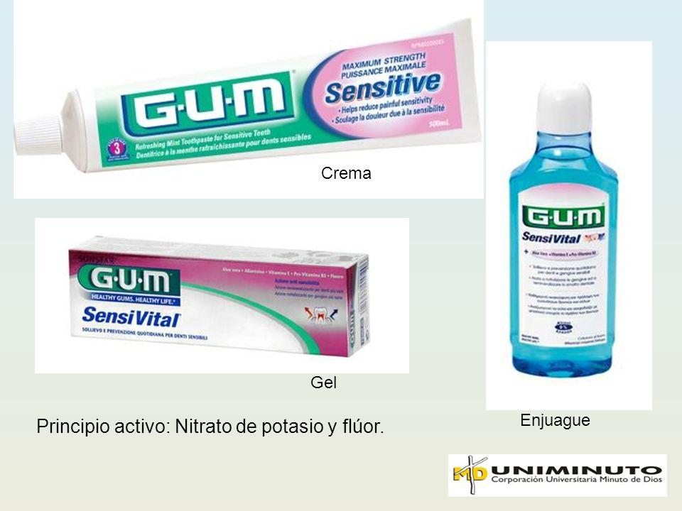 Principio activo: Nitrato de potasio y flúor.