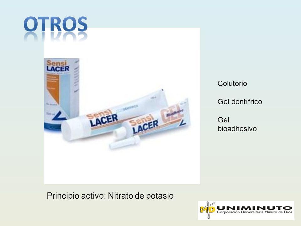 otros Principio activo: Nitrato de potasio Colutorio Gel dentífrico