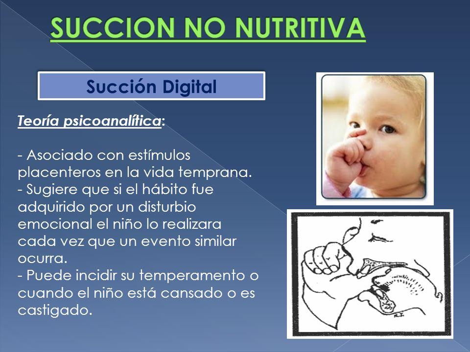 SUCCION NO NUTRITIVA Succión Digital Teoría psicoanalítica:
