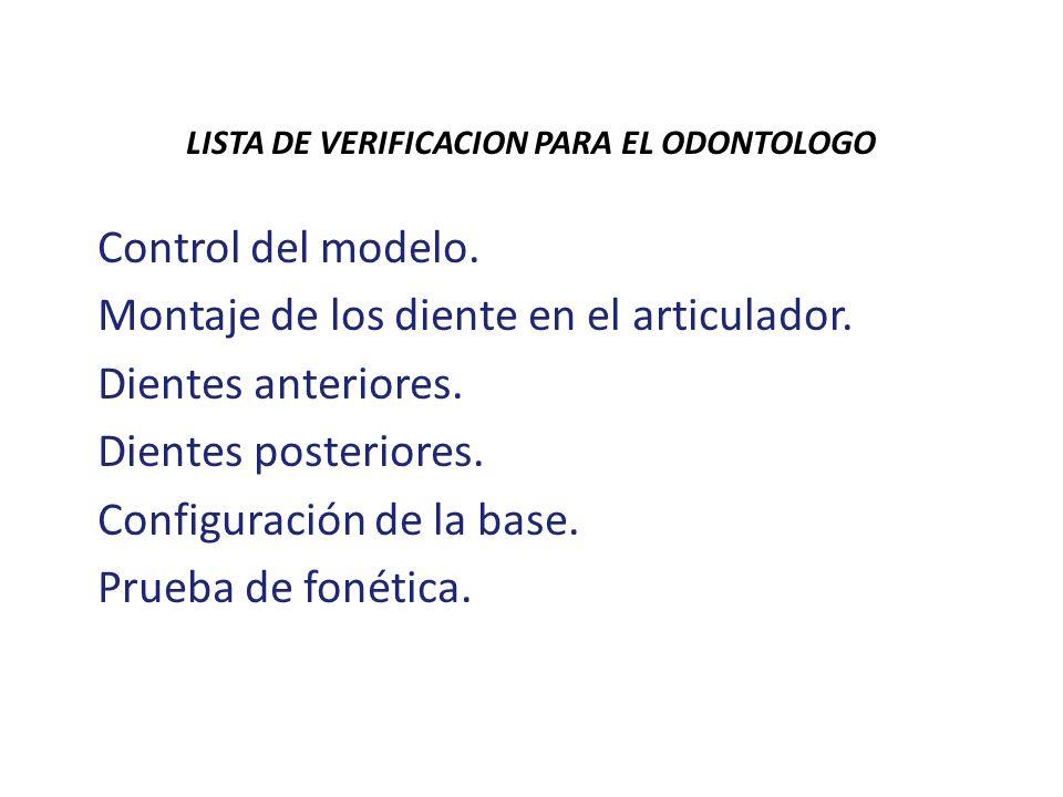 LISTA DE VERIFICACION PARA EL ODONTOLOGO