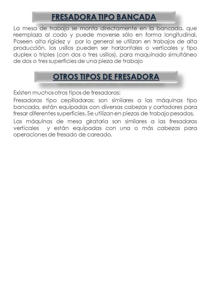 FRESADORA TIPO BANCADA OTROS TIPOS DE FRESADORA