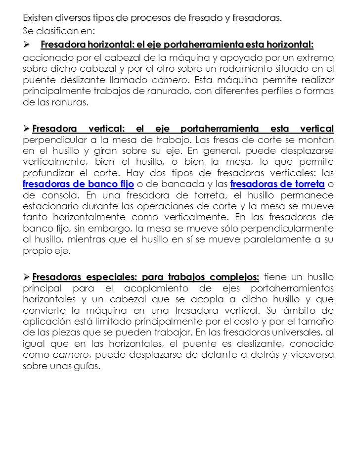Existen diversos tipos de procesos de fresado y fresadoras.