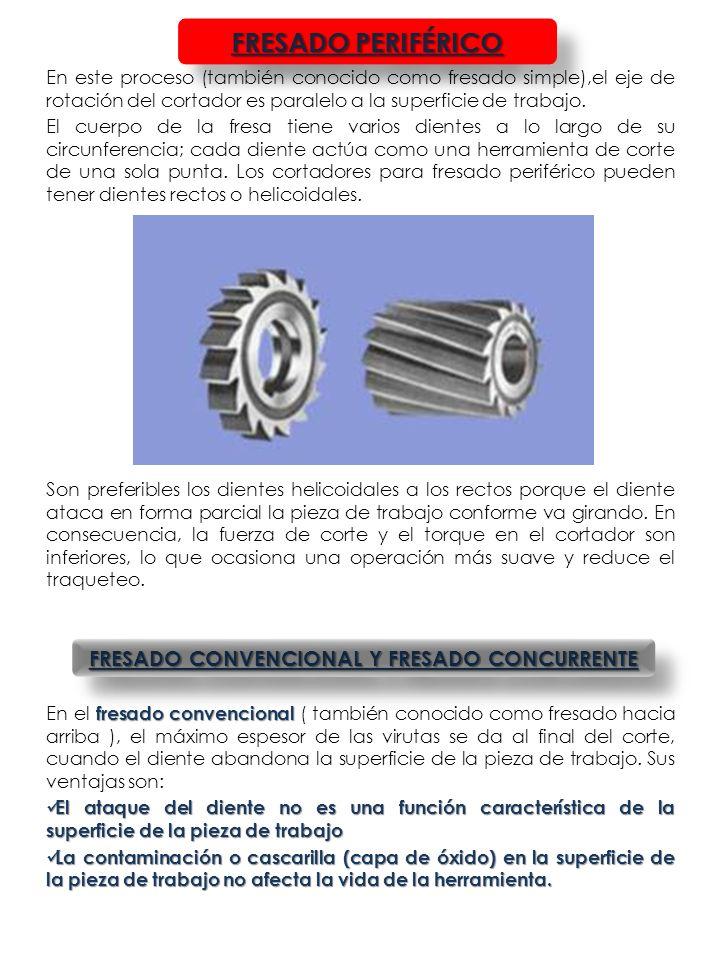 FRESADO CONVENCIONAL Y FRESADO CONCURRENTE