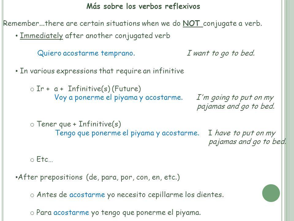 Más sobre los verbos reflexivos