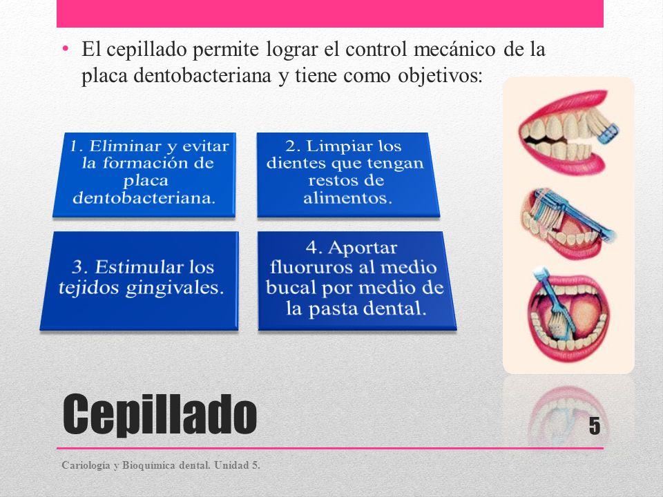 Cepillado 1. Eliminar y evitar la formación de placa dentobacteriana.