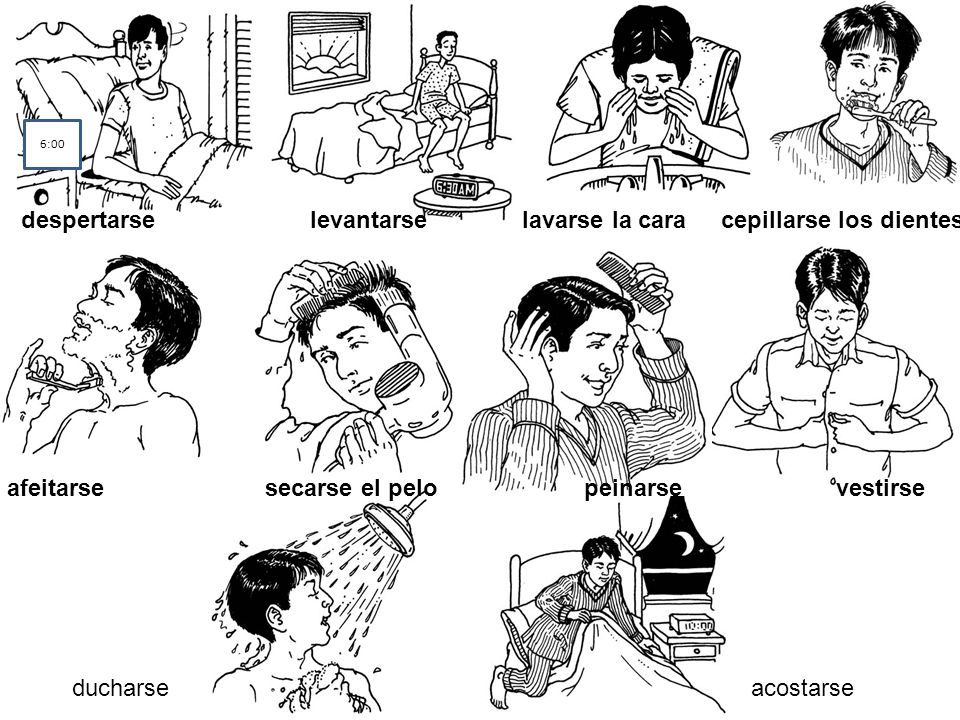 despertarse levantarse lavarse la cara cepillarse los dientes