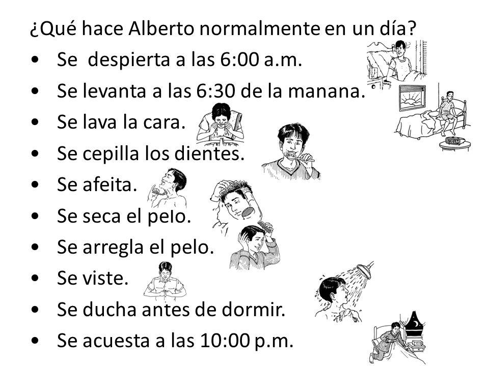 ¿Qué hace Alberto normalmente en un día