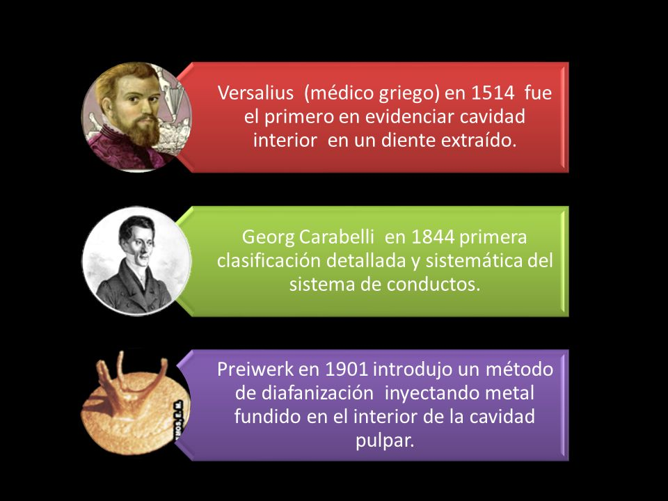 Versalius (médico griego) en 1514 fue el primero en evidenciar cavidad interior en un diente extraído.