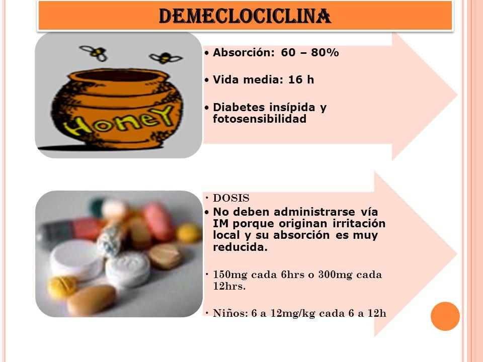 DEMECLOCICLINA Absorción: 60 – 80% Vida media: 16 h