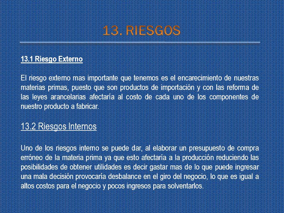 13. RIESGOS 13.2 Riesgos Internos 13.1 Riesgo Externo