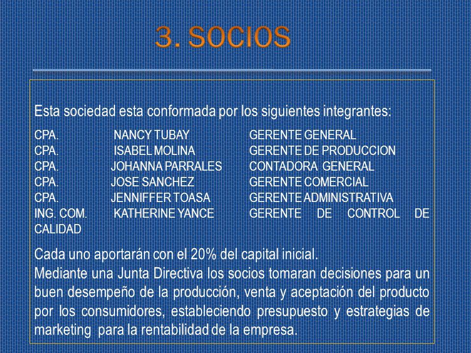 3. SOCIOS Esta sociedad esta conformada por los siguientes integrantes: CPA. NANCY TUBAY GERENTE GENERAL.