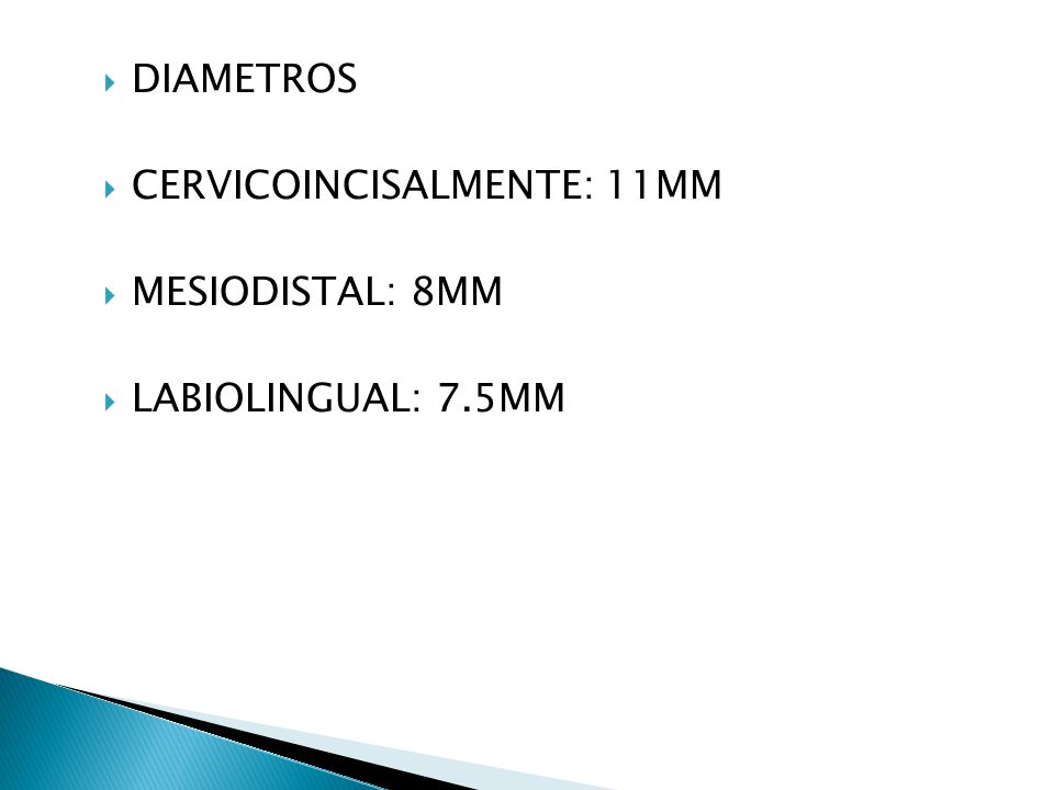 DIAMETROS CERVICOINCISALMENTE: 11MM MESIODISTAL: 8MM LABIOLINGUAL: 7.5MM