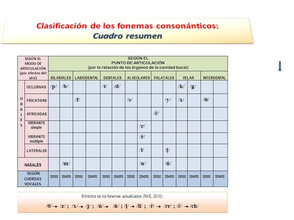 Clasificación de los fonemas consonánticos: Cuadro resumen