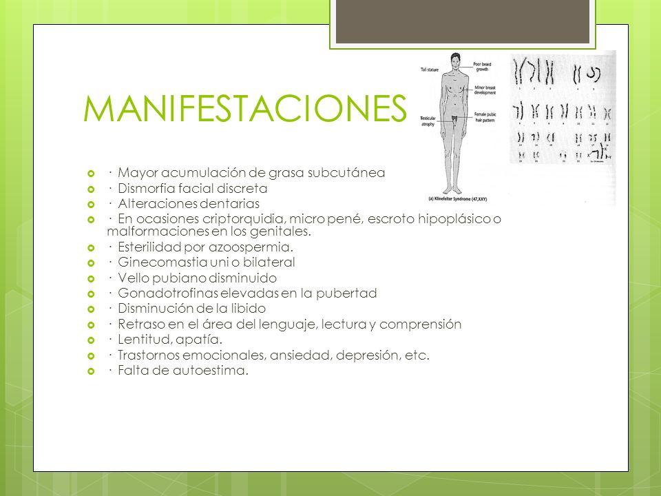 MANIFESTACIONES · Mayor acumulación de grasa subcutánea