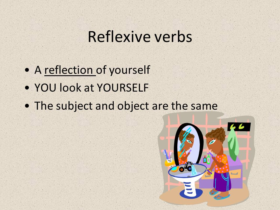 Reflexive verbs A reflection of yourself YOU look at YOURSELF
