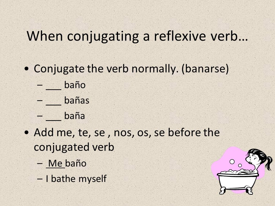 When conjugating a reflexive verb…