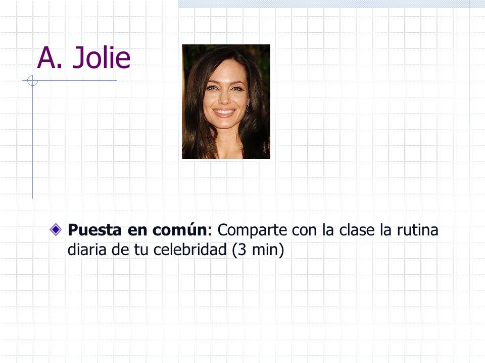 A. Jolie Puesta en común: Comparte con la clase la rutina diaria de tu celebridad (3 min)