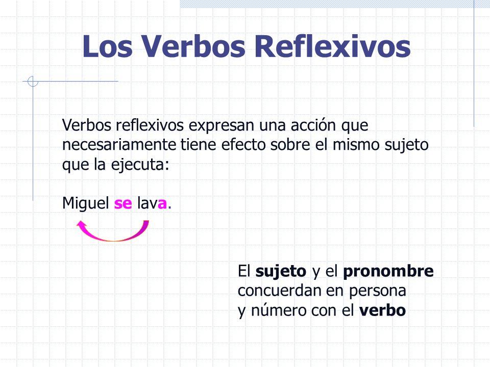 Los Verbos Reflexivos Verbos reflexivos expresan una acción que necesariamente tiene efecto sobre el mismo sujeto que la ejecuta: