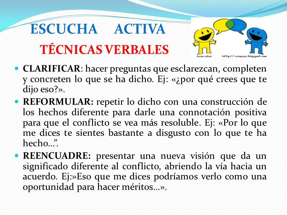 ESCUCHA ACTIVA TÉCNICAS VERBALES
