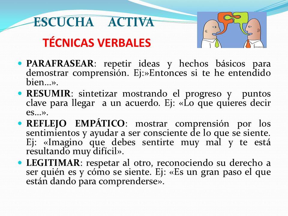 TÉCNICAS VERBALES ESCUCHA ACTIVA