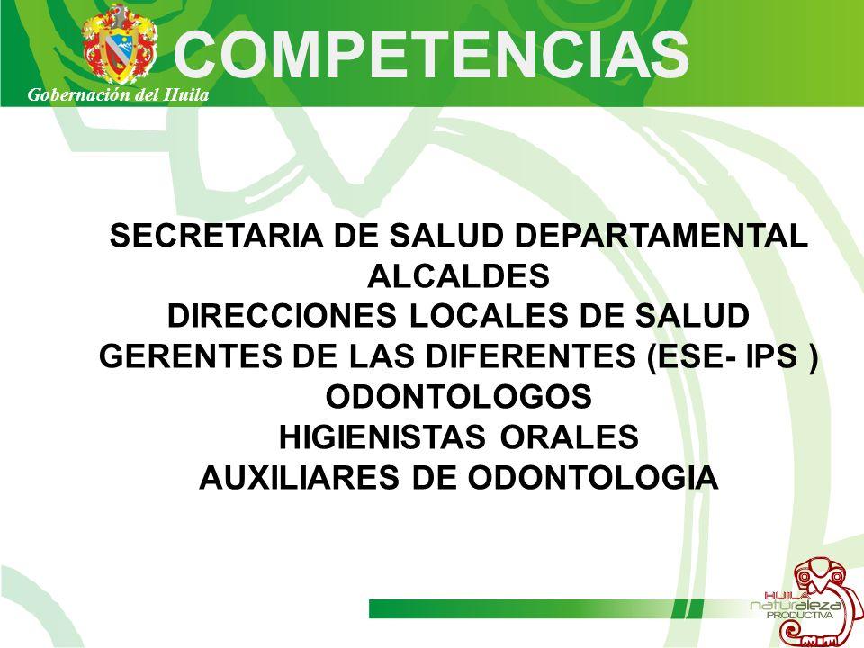 COMPETENCIAS SECRETARIA DE SALUD DEPARTAMENTAL ALCALDES