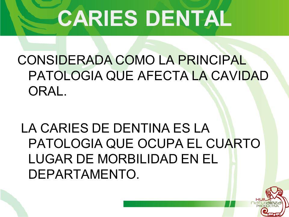 CARIES DENTAL CONSIDERADA COMO LA PRINCIPAL PATOLOGIA QUE AFECTA LA CAVIDAD ORAL.