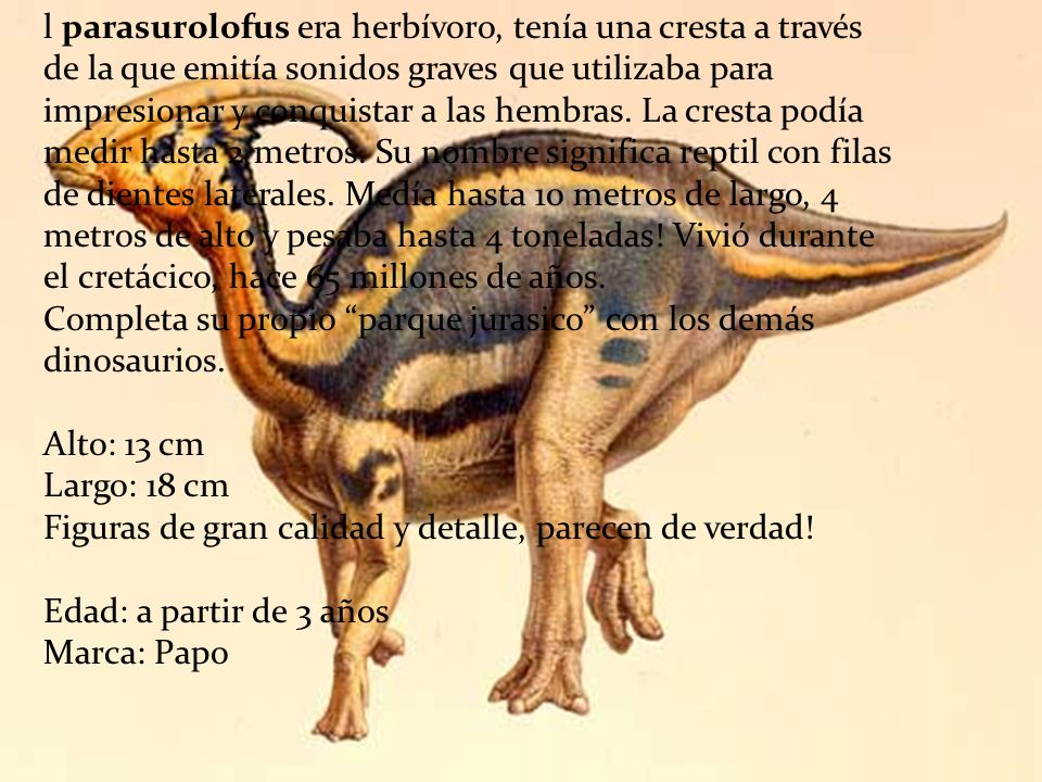 l parasurolofus era herbívoro, tenía una cresta a través de la que emitía sonidos graves que utilizaba para impresionar y conquistar a las hembras.