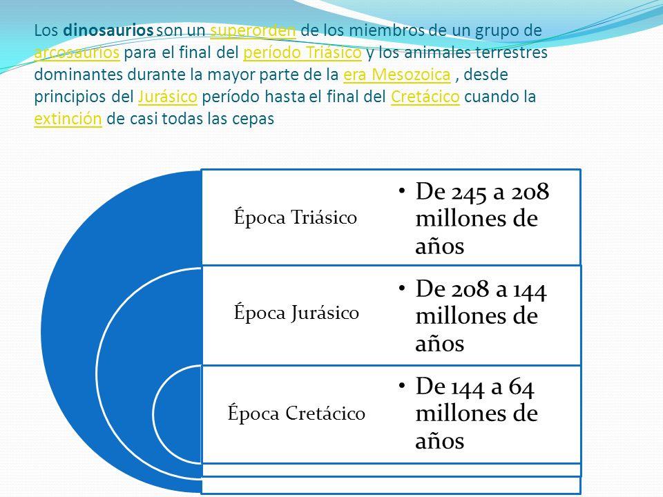 De 245 a 208 millones de años De 208 a 144 millones de años