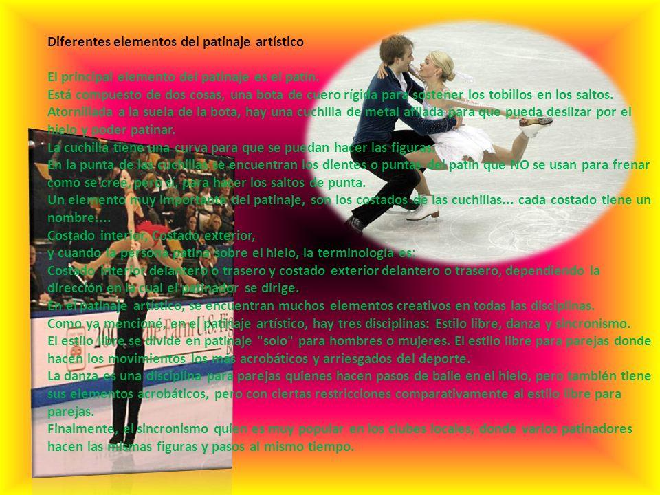 Diferentes elementos del patinaje artístico