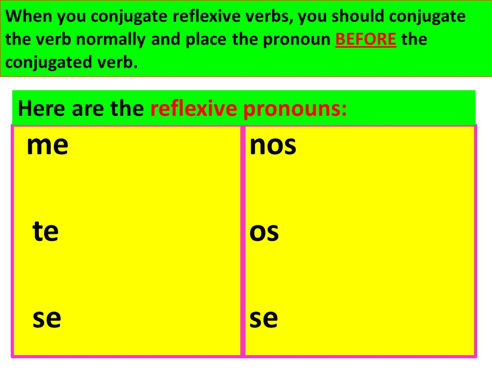 nos os se te se Here are the reflexive pronouns:
