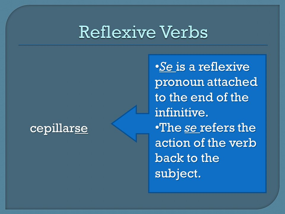 Reflexive Verbs cepillarse. Se is a reflexive pronoun attached to the end of the infinitive.