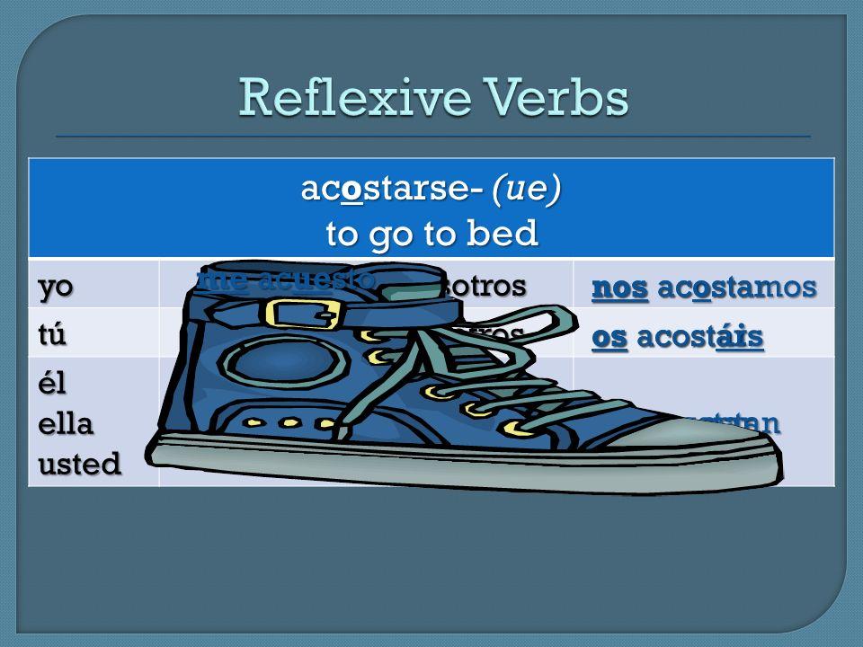 Reflexive Verbs acostarse- (ue) to go to bed yo nosotros tú vosotros